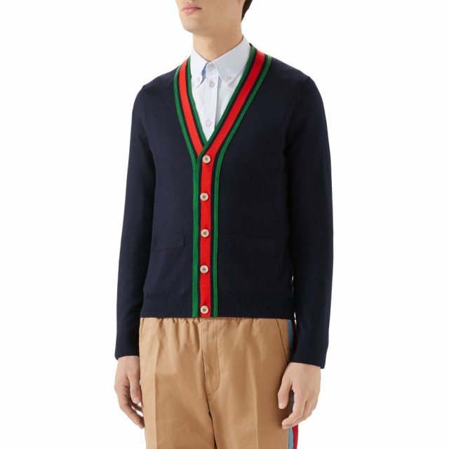 check out 74fe1 c12f2 グッチ GUCCI メンズ カーディガン トップス Web Wool Cardigan Ink/Multicolor|au Wowma!(ワウマ)