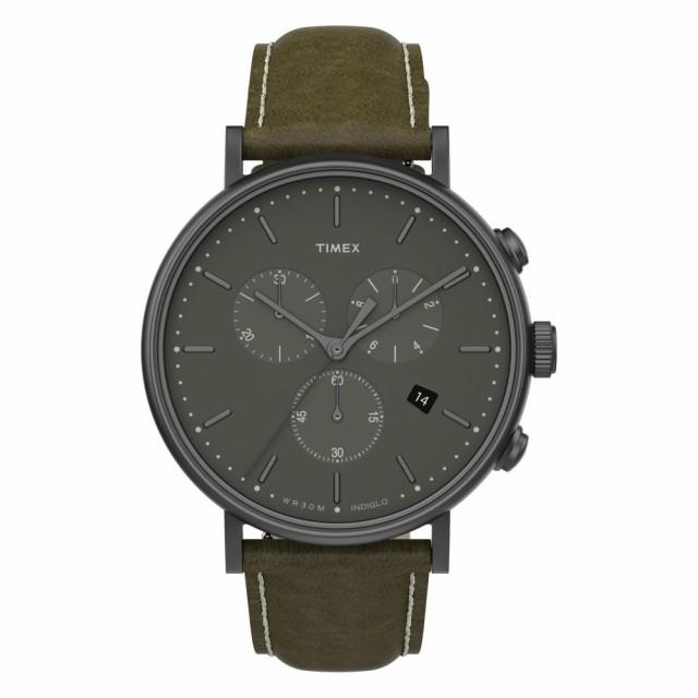 オープニング 大放出セール タイメックス TIMEX メンズ 腕時計 クロノグラフ Fairfield Chronograph Leather Strap Watch. 41mm Olive/Gunmetal, プラスデザイン 6413e932