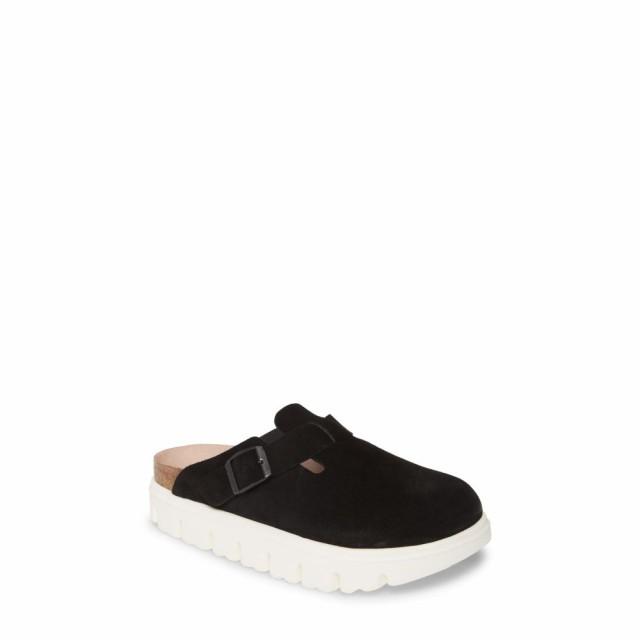 柔らかな質感の ビルケンシュトック BIRKENSTOCK レディース サンダル・ミュール シューズ・靴 Boston Platform Sole Mule Black Suede, nandemoyahonpo 406883c9