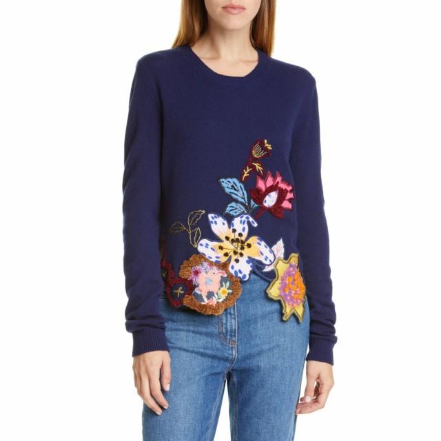 愛用  トップス ニット・セーター Hem レディース Asymmetrical Floral ETRO エトロ Blend Sweater Wool Embroidered Navy-トップス