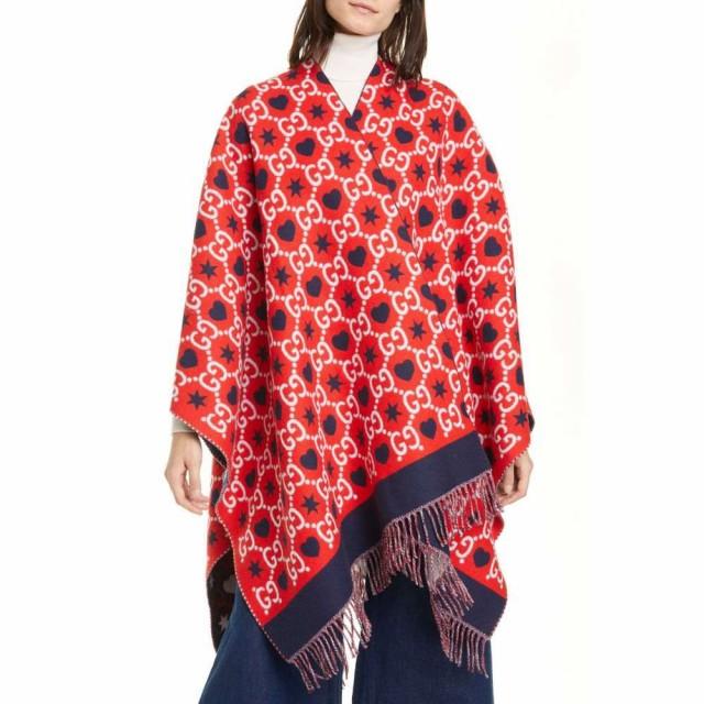 【開店記念セール!】 レディース Reversible Red/Blue GUCCI ポンチョ GG アウター グッチ Wool Poncho-アウター