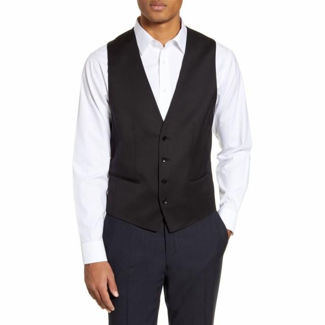 保障できる Vest Black Wool トップス ボス BOSS ヒューゴ メンズ ベスト・ジレ Huge/Weste Solid-トップス
