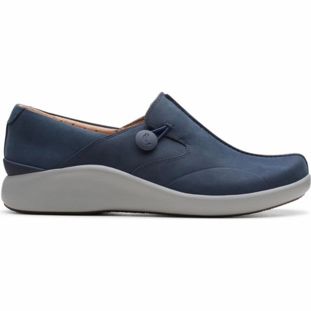【お買い得!】 Un Nubuck Flat CLARKS Loop シューズ・靴 Leather Walk クラークス 2 スリッポン・フラット Navy レディース-靴・シューズ