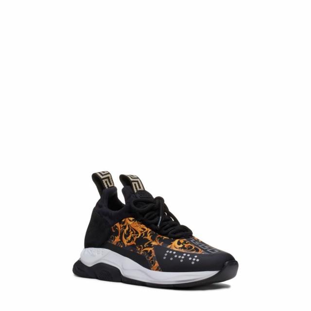 超激安 ヴェルサーチ VERSACE レディース スニーカー シューズ・靴 Cross Chainer Sneaker Black/Gold, リトルティース bde73a47