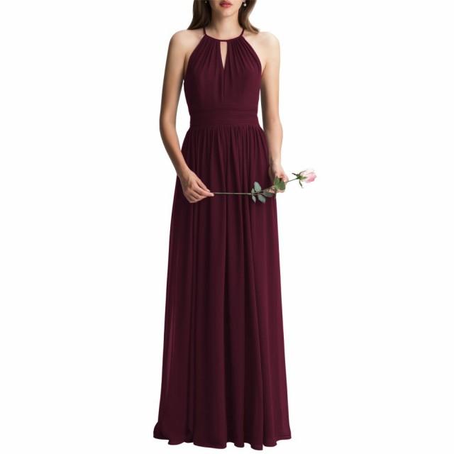 本物保証!  #LEVKOFF レヴコフ Wine レディース ワンピース・ドレス パーティードレス chiffon a-line gown keyhole-ドレス