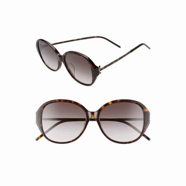 人気提案 イヴ サンローラン SAINT Sunglasses 57mm LAURENT レディース メガネ・サングラス ラウンド 57mm SAINT Round Sunglasses Shiny Dark Havana/Grey Grad, バカラ専門店 リビングウェルデ:715a62ff --- eu-az124.de
