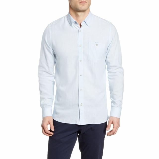 【激安大特価!】  テッドベーカー TED BAKER LONDON メンズ シャツ トップス Notip Button-Up Linen Blend Shirt Blue, インナー@スタイルスクエア 7980f147