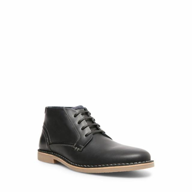 偉大な スティーブ マデン STEVE MADDEN メンズ ブーツ シューズ・靴 Gadrick Chukka Boot Black Leather, マツシゲチョウ f72b6ef2