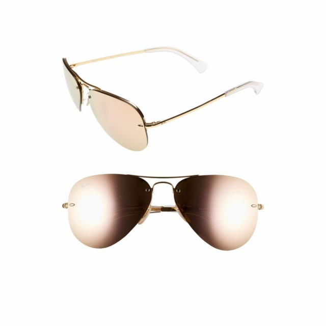 【新品】 レイバン RAY-BAN ユニセックス メガネ・サングラス Highstreet Highstreet 59mm RAY-BAN Semi レイバン Rimless Aviator Sunglasses Brown/Pink, 車高調通販 TRANSPORT:fa2ecfd4 --- chevron9.de