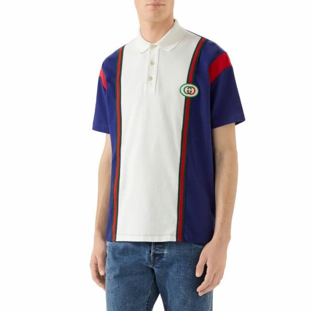 【通販 人気】 グッチ メンズ Logo GUCCI Milk トップス Colorblock Patch ポロシャツ Inchiostro Polo-トップス