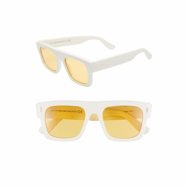 【日本未発売】 トム フォード TOM FORD レディース メガネ・サングラス Fausto 53mm Flat Top Sunglasses Shiny Ivory/Brown, viva 09eb251d