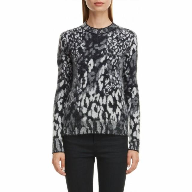 絶妙なデザイン Sweater レディース イヴ SAINT トップス Jacquard Noir/Naturel/Gris サンローラン ニット・セーター LAURENT Snow Ch Leopard-トップス