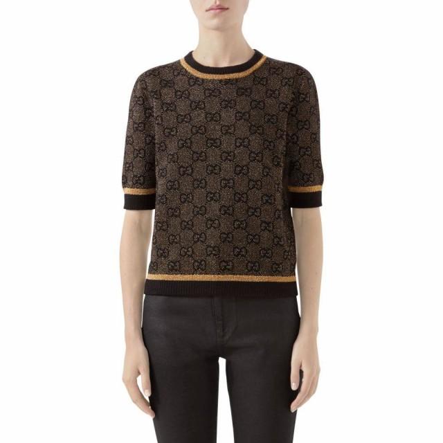 国内最安値! グッチ GUCCI レディース ニット・セーター トップス GG Logo Metallic Jacquard Sweater Black/Gold, キムチの希天家 d7c36998