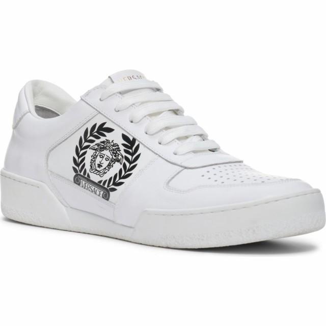 人気No.1 ヴェルサーチ VERSACE メンズ スニーカー シューズ・靴 Logo Sneaker White Black, 南宇和郡 176675ba
