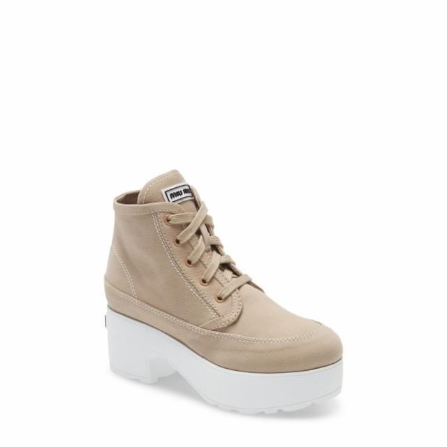 魅力的な ミュウミュウ MIU MIU レディース ブーツ シューズ レディース・靴 ブーツ Platform Bootie ミュウミュウ Kaki, ハキハキ工房 クレオのスリッパ:a07952ed --- chevron9.de