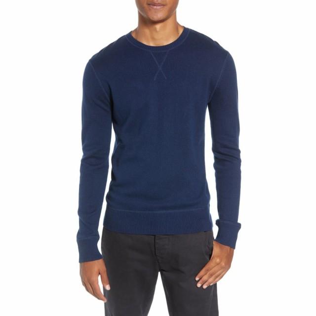 本物 ライフ アフター デニム LIFE/AFTER/DENIM メンズ ニット・セーター トップス Tournament Slim Fit Crewneck Sweater Navy, ミカヅキチョウ eb62f02b