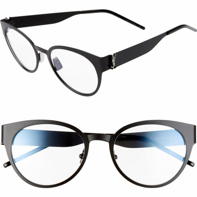 【信頼】 イヴ サンローラン SAINT LAURENT Glasses LAURENT レディース レディース メガネ・サングラス 52mm Round Optical Glasses Black, BerryStyleベリースタイル:26d77f6f --- eu-az124.de