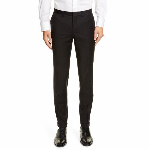 新しいブランド ヒューゴ ボス BOSS メンズ スラックス ボトムス・パンツ Wave CYL Flat Front Slim Fit Solid Wool Dress Pants Black, 花材通販はなどんやアソシエ 585c0f96