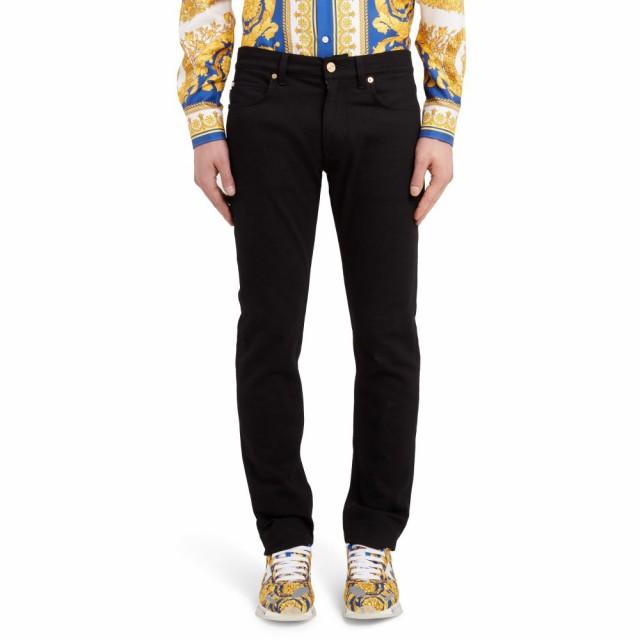 【初回限定お試し価格】 ヴェルサーチ VERSACE FIRST LINE メンズ ジーンズ・デニム ボトムス・パンツ Trim Fit Jeans Black, キングラス 896b2fb1