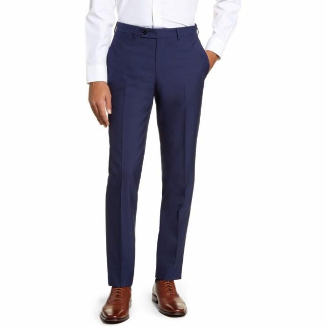 【売り切り御免!】 テッドベーカー TED BAKER LONDON メンズ ボトムス・パンツ Jefferson TED メンズ Flat Flat Front Solid Wool Trousers Blue, 抱かれ枕の眠り製作所:6981f180 --- schongauer-volksfest.de