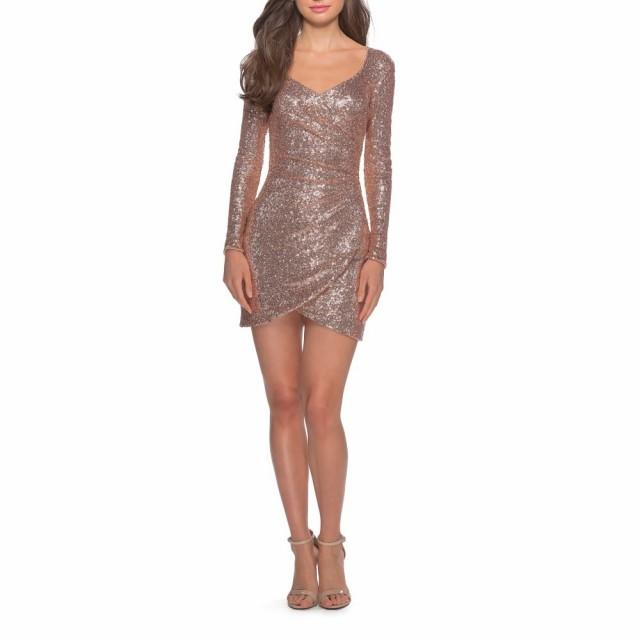 割引購入 ラ ファム LA FEMME Long LA レディース パーティードレス Sequin ワンピース・ドレス Long Sleeve Sequin Cocktail Dress Rose Gold, 山県郡:33796a37 --- buergerverein-machern-mitte.de