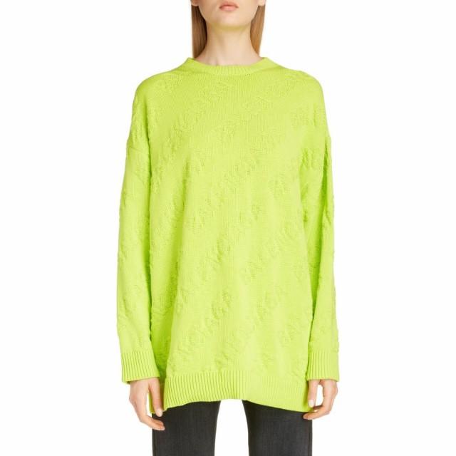 大特価!! トップス Tonal Sweater BALENCIAGA Lime Jacquard バレンシアガ Logo Cotton ニット・セーター レディース-トップス