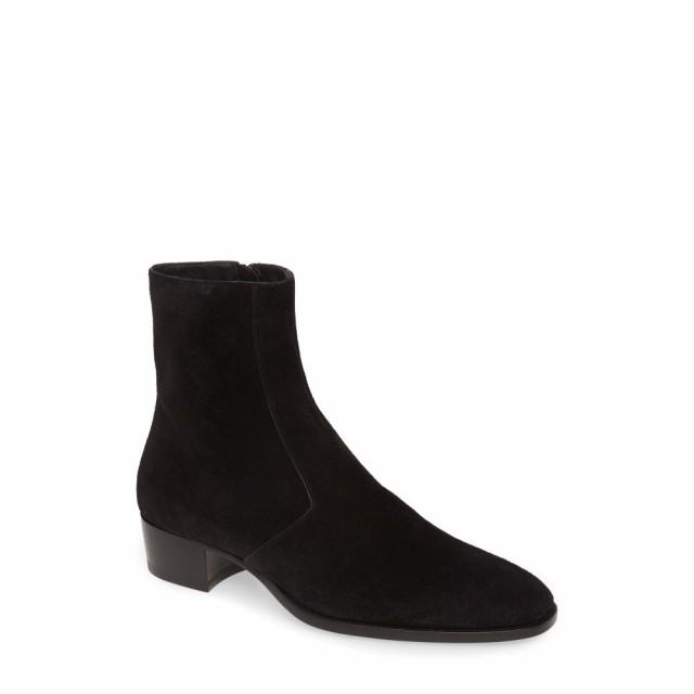 最新作の SAINT ブーツ LAURENT サンローラン Boot メンズ シューズ・靴 Zip Black Suede Wyatt イヴ-靴・シューズ