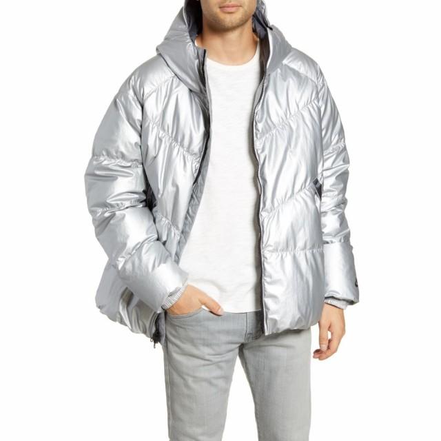 交換無料! ナイキ NIKE メンズ ダウン・中綿ジャケット フード アウター Sportswear Metallic Hooded Down Puffer Coat Silver/Dark Grey/Black, First Pure 16eb484d