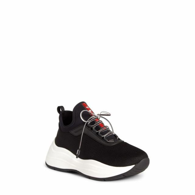 【国際ブランド】 シューズ・靴 スニーカー Sneaker Knit Platform Lace-Up PRADA レディース プラダ Black-靴・シューズ
