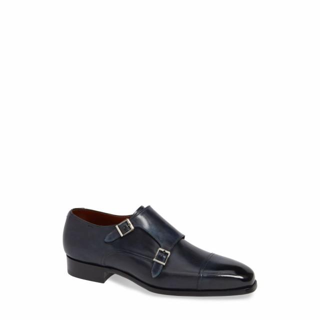全てのアイテム マグナーニ MAGNANNI メンズ 革靴・ビジネスシューズ シューズ・靴 Wooster Double Monk Strap Shoe Navy Leather, 愛曲楽器 8374d556