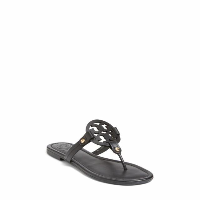 お歳暮 トリー バーチ TORY BURCH レディース ビーチサンダル シューズ・靴 Miller Flip Flop Black Leather, シャナグン 7e2cb379