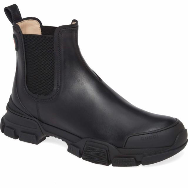 店舗良い シューズ・靴 グッチ チェルシーブーツ GUCCI ブーツ Chelsea Leon メンズ Boot Black-靴・シューズ
