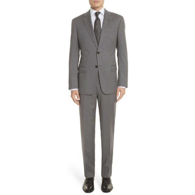 (お得な特別割引価格) アルマーニ EMPORIO ARMANI メンズ Sharkskin スーツ・ジャケット アウター Trim Fit Fit Light Sharkskin Wool Suit Light Grey, アカシナマチ:74c4044c --- buergerverein-machern-mitte.de