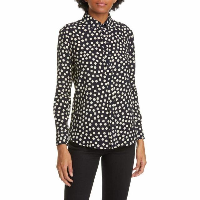 大注目 イヴ サンローラン トップス イヴ SAINT LAURENT レディース ブラウス・シャツ Silk トップス Scatter Dot Silk Crepe de Chine Shirt Marine Craie, カイセイマチ:f4751d5c --- kzdic.de