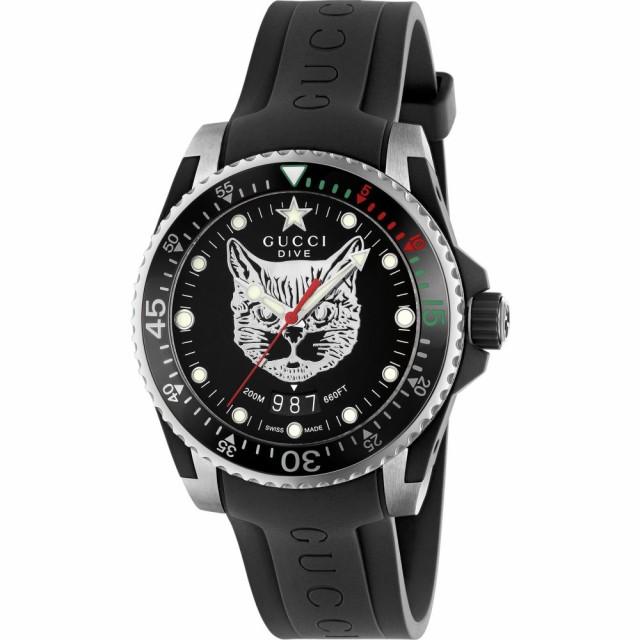【ついに再販開始!】 Cat Watch. Rubber グッチ Black/Silver Diver メンズ Strap 40mm GUCCI 腕時計-腕時計レディース