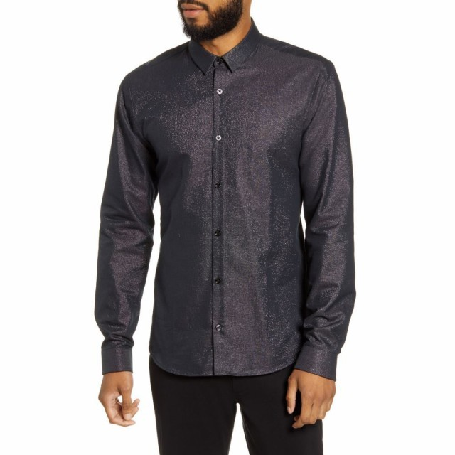 激安店舗 ヒューゴ ボス HUGO メンズ シャツ Metallic Button-Up シャツ トップス Slim Fit Metallic Button-Up Shirt Black, LABCLIP online store:d29b0154 --- kulturbund-sachsen-anhalt.de