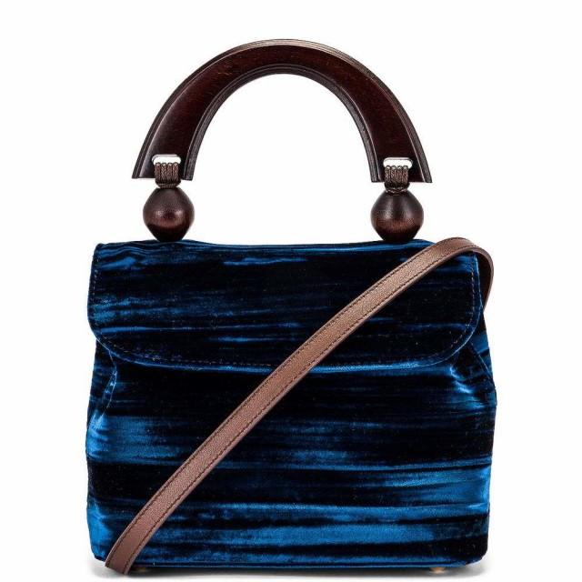 お気に入りの バイ ファー BY FAR レディース ハンドバッグ バッグ Mini Fiona Crushed Velvet Top Handle Bag Dark Blue, MASUTANI 1d01b206