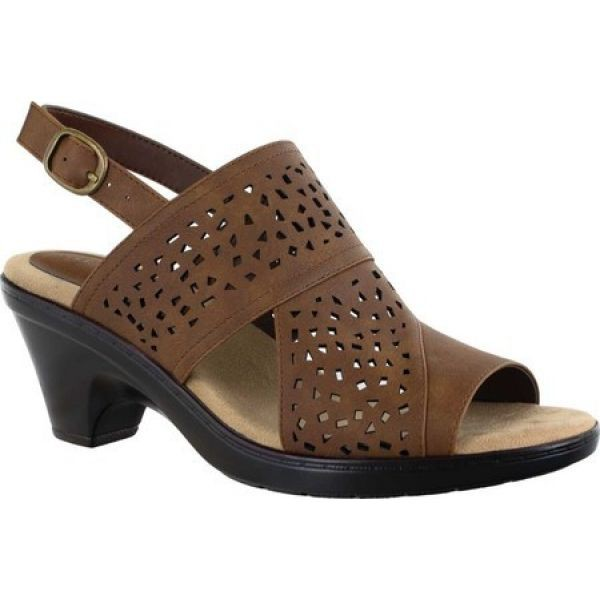 2019人気特価 イージーストリート Tan Easy Dark Street レディース サンダル・ミュール シューズ Perforated・靴 Charleigh Perforated Slingback Sandal Dark Tan Synthet, 清家石材工業:3acf1540 --- united.m-e-t-gmbh.de