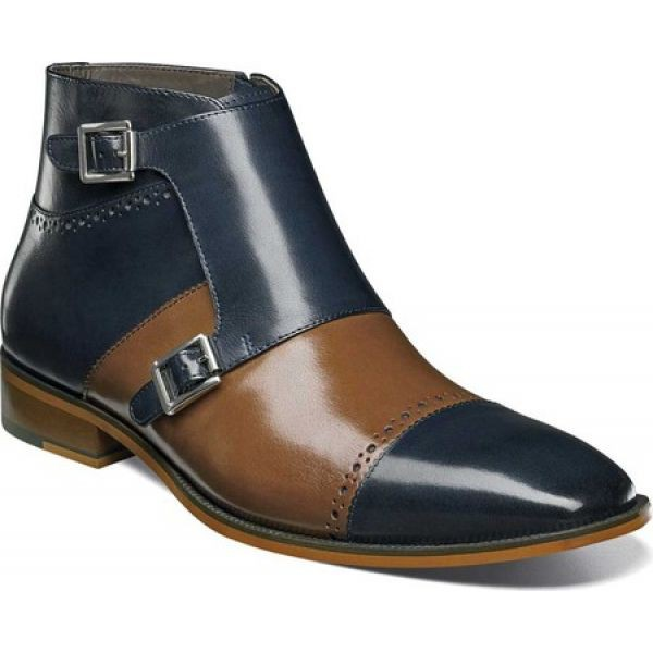 最高の品質 ステイシー アダムス Stacy Adams メンズ ブーツ ショートブーツ シューズ・靴 Kason Double Monk Strap Ankle Boot Navy/Saddle Tan Buf, 美深町 e8dd7657