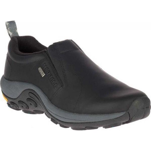 配送員設置 Merrell シューズ・靴 Waterproof Black メレル Leather Moc Slip-On Jungle Ice+ メンズ スリッポン・フラット Leather-靴・シューズ