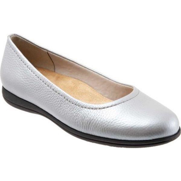 交換無料! Flat Grey Pearlized バレエシューズ スリッポン・フラット Darcey Trotters レディース シューズ・靴 Ballet トロッターズ-靴・シューズ