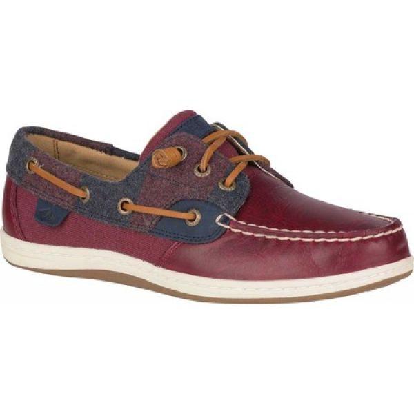 100%の保証 スペリー Sperry Top-Sider レディース スリッポン・フラット シューズ・靴 Songfish Varsity Wool Boat Shoe Wine Premium Leather, ベクトル多治米店 5c592592