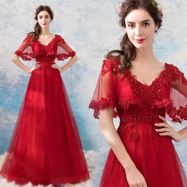 9ea2b16b1cea3 パーティードレス カラードレス 礼服 Vネック 二次会 花嫁 レッド ウェディングドレス 舞台衣装 司会者