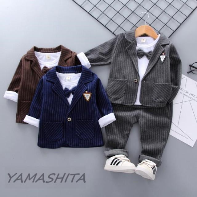 195b2fbd4ed5b 子供服 セットアップ 子供スーツ 男の子 フォーマル キッズ Tシャツ ストライプジャケット パンツ 3点セット