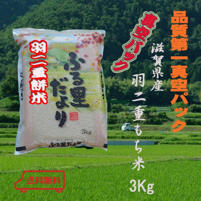 29年産 もち米3Kg 滋賀県産  羽二重餅3Kg 真空パック モチゴメ小餅 赤飯 豆餅 草餅 あんこ餅 絹のような光沢とやわらかいお餅