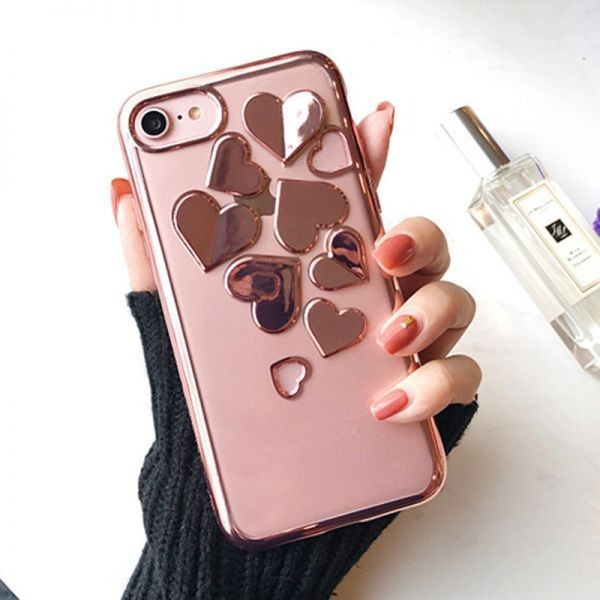 4f9ceea40f 【iPhone6sPlus ピンク】ソフトケース カバー キラキラ 3Dハート iPhone アイホン スマホ 全3色