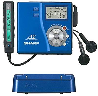 【代引可】 ブルー 【品】 シャープ アウヴィ MD-DR77- ポータブルMDレコーダー-映像プレイヤー・レコーダー