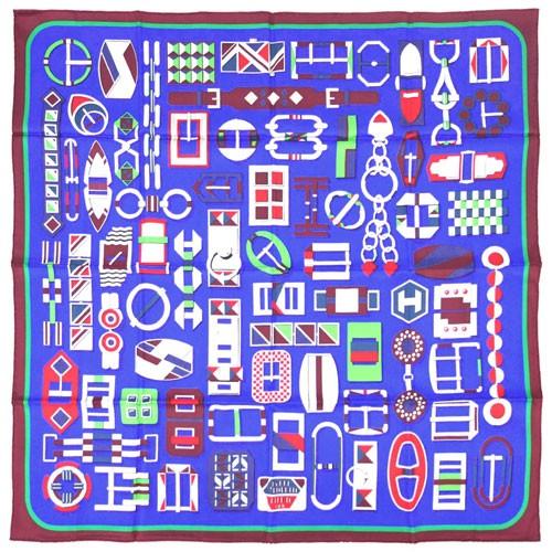 注目 エルメス スカーフ H003021S07 HERMES ソルド カレ ツイル シルク 90CMS CARRE EN BOUCLES ブルーロイヤル/ボルドー/ヴェール 30d22, Funny Jinx d18fcfd3