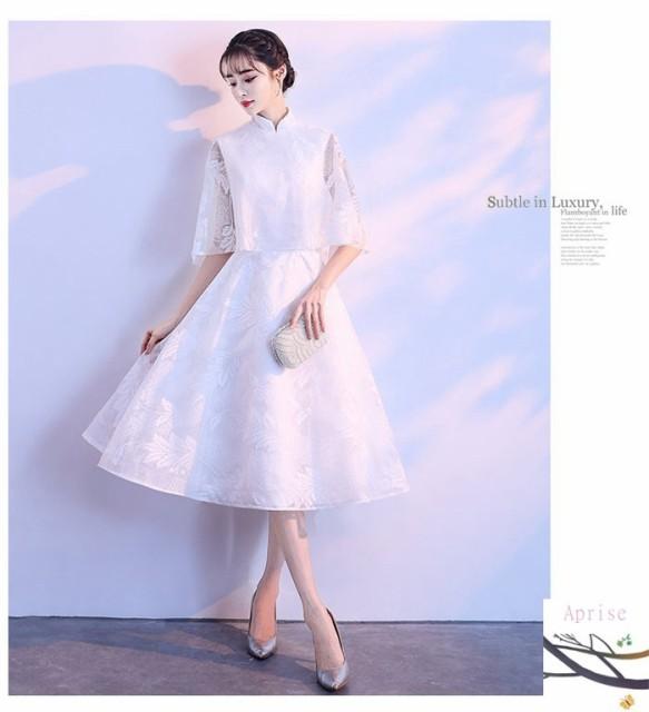 81802df919dd0 パーティードレス 袖あり 結婚式 大人 ウェディングドレス 二次会ドレス パーティドレス 可愛い 卒業式