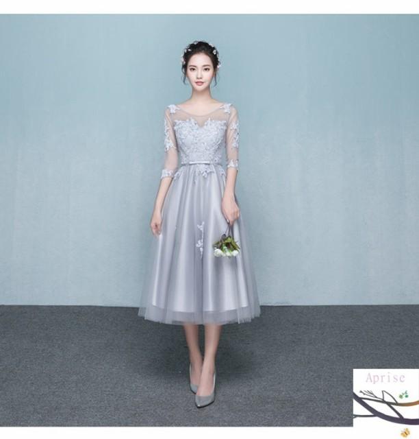 パーティードレス 結婚式 ドレス お呼ばれ 二次会 ミモレ丈 ドレス 袖あり ドレス グレー 演奏会